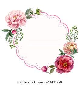 peony, frame, card, watercolor