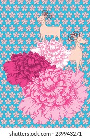 peony and goat background vector/illustration