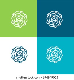 Peony green and blue material color minimal icon or logo design