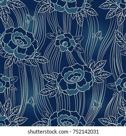 Peony japanese pattern seamless vector. Oriental floral background. Blue vintage flowers print for interior home wallpaper, jacquard furniture textile, packaging paper, kimono fabric, silk scarf.
