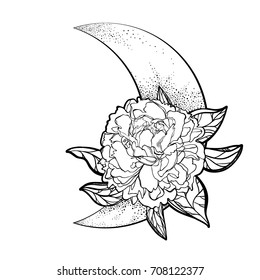 Peony on the background of the month. The symbol of flowering, tatto. Boho Style. Bohemian. Vector illustration, isolated. The print on the shirt of the cover. The symbol of the full moon. Coloring.