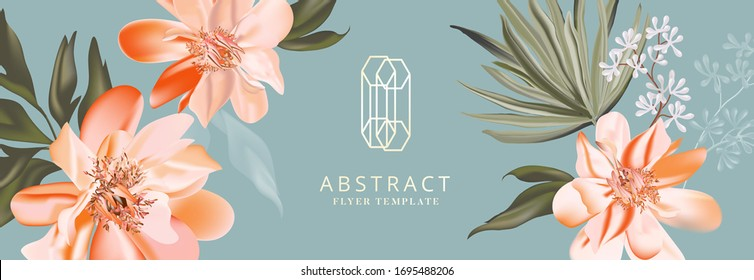 Peony orange bloom, floral greeting card with golden logo, party invitation, holiday sales, poster, web page, packaging, header. Vector