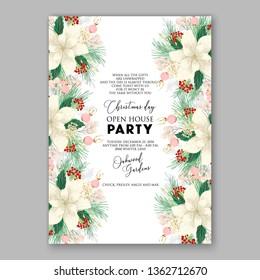 Peony pink rose ranunculus greenery wedding invitation card template vector