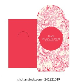 peony red packet template vector/illustration