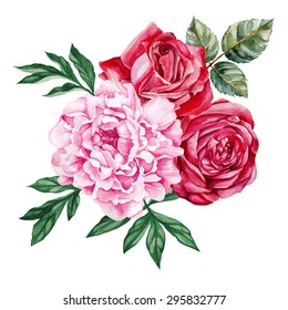 Peony and red roses bouquet. Watercolor, hand painted, isolated on white background. Vector illustration