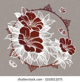 Peony or rose flower branch with butterflies.Tattoo, romantic symbol. Boho print, poster, t-shirt. textiles. Zen for anti stress book. Hand-drawn, retro card design. Isolated vector illustration.