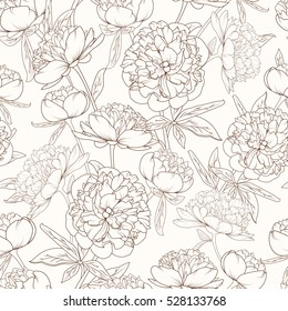 Peony rose flowers realistic detailed sketch drawing. Brown outline on beige sepia background. Paeonia seamless floral pattern.