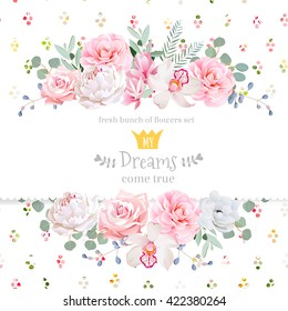 Peony, rose, orchid, camellia, pink flowers and decorative eucalyptus leaves vector design card. Rainbow round confetti backdrop. All elements are isolated and editable.