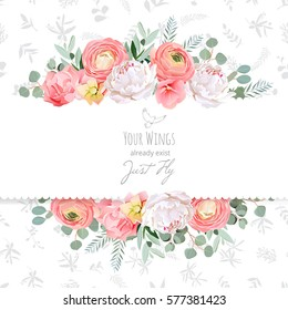 Peony, rose, ranunculus, pink flowers and decorative eucaliptus leaves vector design card. Delicate grey floral texture background. All elements are isolated and editable.