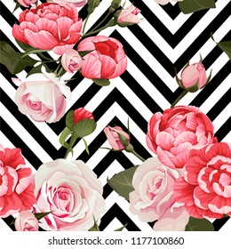Peony and roses vector seamless pattern floral texture on a black and white chevron background