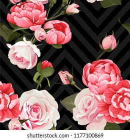 Peony and roses vector seamless pattern floral texture on a dark chevron background