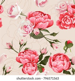 Peony And Roses Vector Seamless Pattern #1 Beige Flowered Texture Background