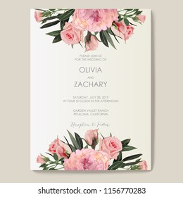 Peony and roses. Wedding Invitation, floral invite card. Vector decorative greeting card, invitation design background