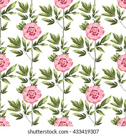 Peony seamless pattern. Chinoiserie. Vector illustration. Texture for textile, paper, web and magazine page. All over print.