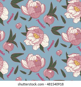 peony seamless pattern on blue background