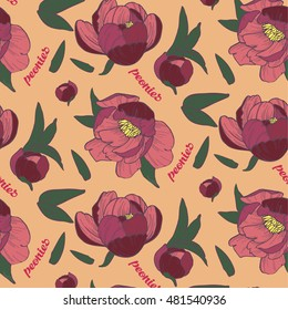 peony seamless pattern on peach background