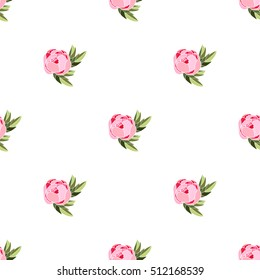 Peony seamless pattern. Vector illustration. All over print.