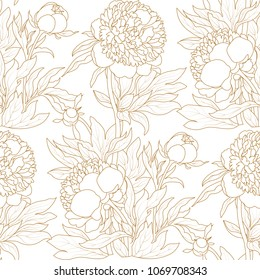 Peony seamless pattern. Vector seamless pattern.Hand-drawing peonies. Vector graphic flowers. Decorative background for cards, invitations. Template greeting card.Chinese flower background.