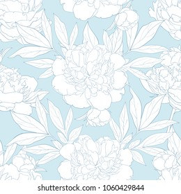 Peony seamless pattern in white and blue colors. Tender hand drawn floral background with blossoms and leaves. Romantic vintage backdrop with gentle flowers. Vector illustration.
