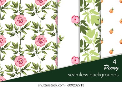 Peony seamless patterns set. Floral seamless backgrounds collection. Flowers of peony and green leaves on a white background. Vector illustration. All over print.