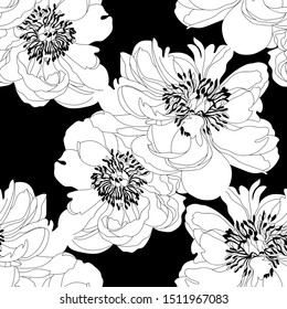 Peony seamless pattern.Seamless pattern with a natural ornament. Tropical vintage peony flower floral seamless pattern white background. Chinese,Oriental,eastern peony flower.