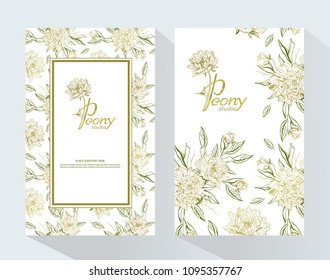 Peony Studio  packaging mock up set. Trendy luxury product branding template with label Peony. Romantic design for natural cosmetics, perfume, women products.