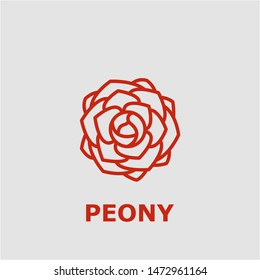 Peony symbol. Outline peony icon. Peony vector illustration for graphic art.