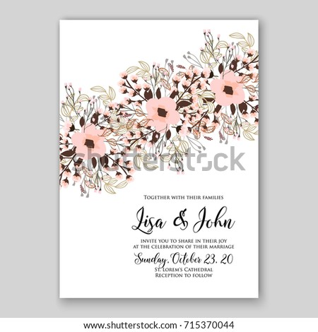 peony wedding invitation card template stock vector royalty free