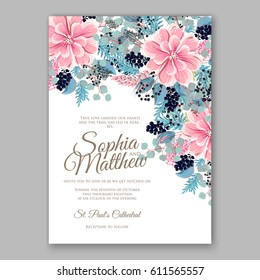 Peony Wedding Invitation Floral Bridal Wreath chrysanthemum flower Anemone, wild privet berry, currant berry vector floral illustration in vintage watercolor style