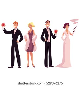 People in 1920s style cocktail dresses at vintage party, cartoon vector illustration isolated on white background. Men and women in vintage evening dresses, retro fashion vector illustration