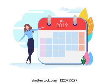 People with 2019 calendar schedule. People vector illustration. Flat cartoon character graphic design. Landing page template,banner,flyer,poster,web page