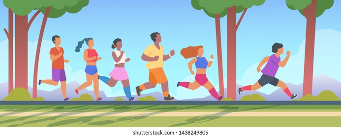 People 5K run. Men and women group running 5K distance, summer outdoor healthy exercises concept. Vector illustration runner man outrun woman sport activity