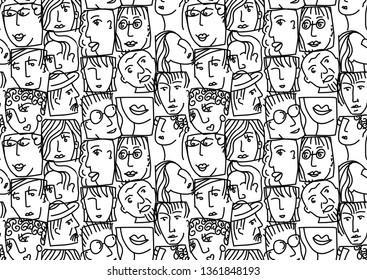 People abstract faces avatars characters black and white seamless pattern