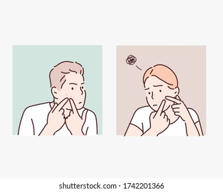 people with acne and rash on face, skin problem concept. Hand drawn style vector design illustrations.