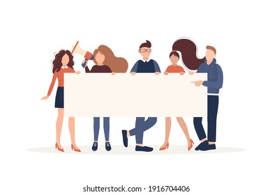 People activist placard, great design for any purposes. Vector character illustration. Flat cartoon vector illustration.