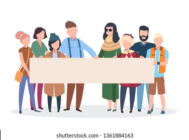 People activists. Men women holding protest banner manifestation. Activist with placard politic parade demonstration. Vector personalization rights pessoas concept