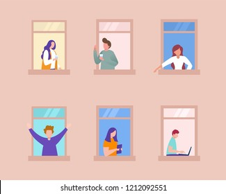 People activity in apartment vector illustration concept,  neighbour interact each other, can use for, landing page, template, ui, web, mobile app, poster, banner, flyer