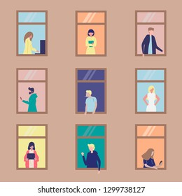 People activity in apartment vector illustration concept, neighbour interact each other,  it can use for, landing page, template, ui, web, mobile app, poster, banner, flyer