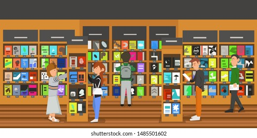 People activity in bookstore, shopping or reading in bookstore. An interior of bookstore or library. Various character in book, career man or woman, academician,or student in university.