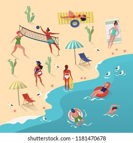 People activity on beach. Man playing volleyball and swimming. Woman having sunbath near sunbed or lounger. Beach with cactus. Leisure and holiday, summertime and tourism, sea and ocean theme