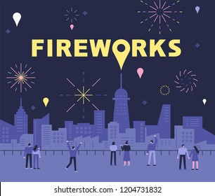 People admiring the fireworks in the night view of the city background. flat design style vector graphic illustration.