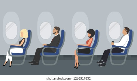People in the aircraft cabin. Airline passengers are sitting in blue chairs on the portholes background in the picture. Vector illustration