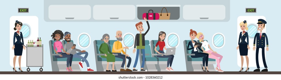 People in airplane cabin sitting and flying.