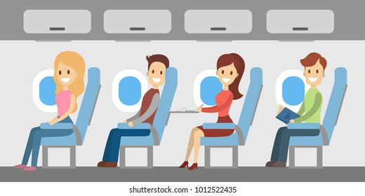 People in airplane sitting. Cabin with windows and luggage.