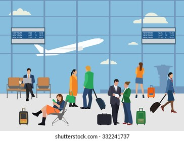 People in airport flat style design vector illustration.