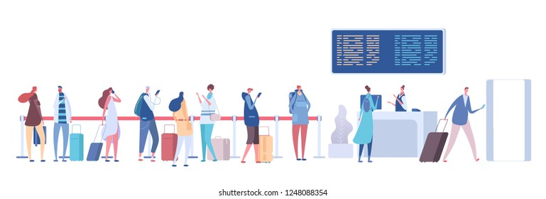 People in airport queue. Passengers baggage in line, check in registration in terminal. Airport arrival departure vector concept