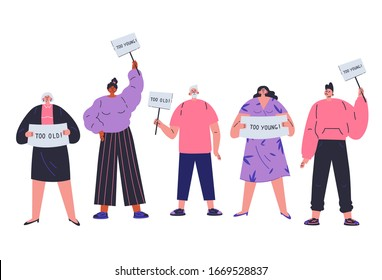 People of all ages are discriminated against by age. Different people not fit the demands of society.Ageism concept.Too old, too young. Employment problems.Cartoon character.Vector colorful illustration.