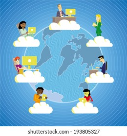 People from all around the world working and cooperating using cloud technology.