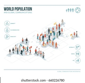 People from all over the world connecting together: diversity, ethnic groups and demographics concept