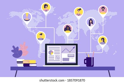 People from all over the world, professionals in various industries, work together online on a laptop, work remotely, work from home and work from anywhere. Vector illustration on isolated background.